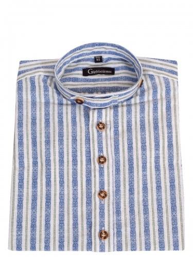 Orbis Kinderhemd blau-grün gestreift mit Riegel, Stehkragen