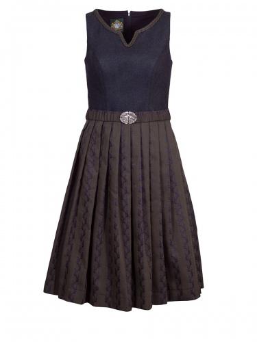 Hammerschmid Zellersee Kleid, grau-oliv-dunkelblau, Fischgrad, Schließe