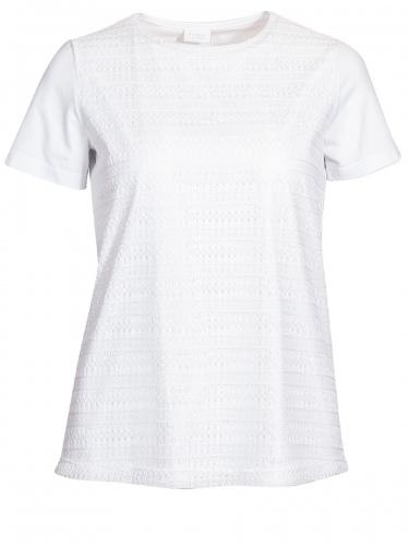 Moser T-Shirt Baldau, weiß, Vorderseite mit Spitze