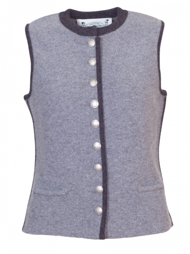 Astrifa Strickweste Veldenstein, grau, dunkelgraue Einfassung