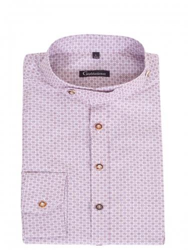 Orbis Herrenhemd, weißgrundig, weinrotes Muster, Stehkragen, Body Fit