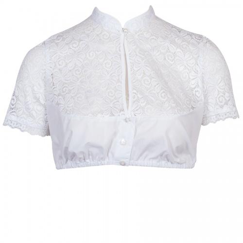Wenger Spitzen-Dirndlbluse Gerlinde, Kurzarm, weiß, Shirtrücken, Stretch