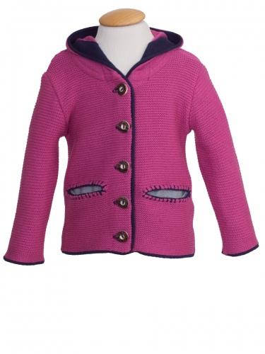 Moser Mädchen-Strickjacke Scharnstein, pink mit dunkelblauer Einfassung
