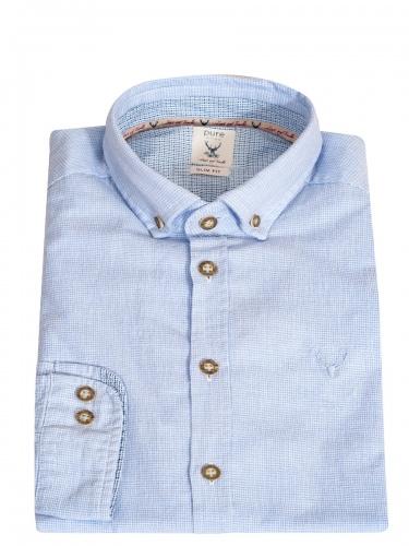 Hatico Baumwollhemd hellblau mit Hirschstick, Liegekragen, durchgeknöpft