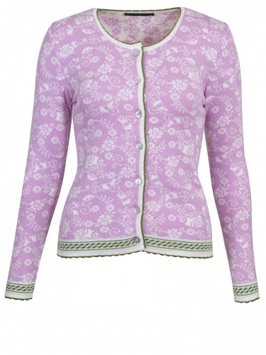Jalana Vintage Flowers Strickjacke, rosa-weiß gemustert