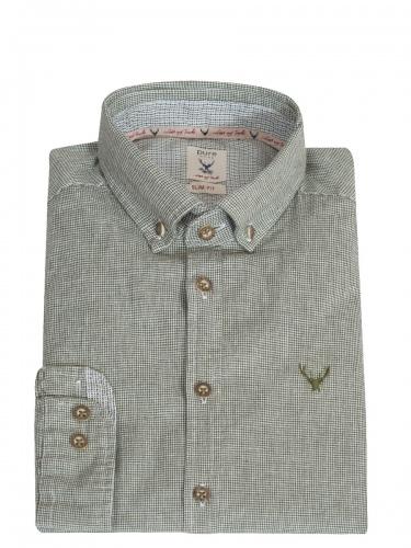 Hatico Baumwollhemd grün mit Hirschstick, Liegekragen, durchgeknöpft