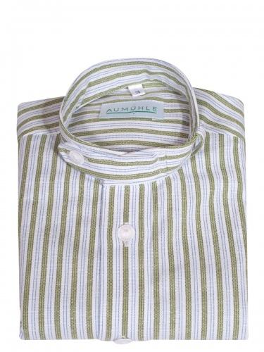 Waldorff Kinderhemd grün-weiß gestreift, Stehkragen