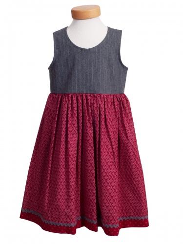 Hammerschmid Kinderkleid Glanzsee, rot-grau