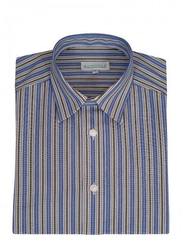 Waldorff Trachtenhemd, Pfoad, blau-tanne-weiß gestreift, Liegekragen