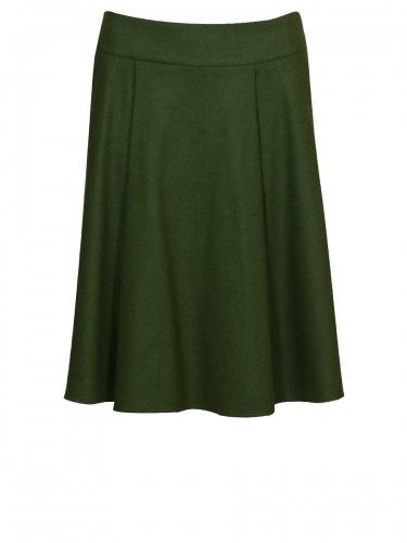 Bauer Damenrock, Loden, moosgrün, Zierdetaschen