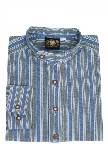 Hammerschmid Kinderhemd blau-grün gestreift, Pfoad, Stehkragen