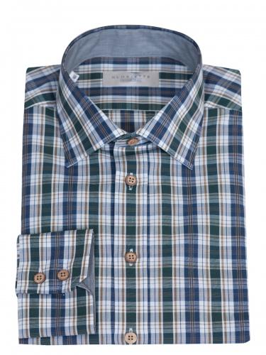 Gloriette Herrenhemd grün-blau-weiß kariert, Kentkragen