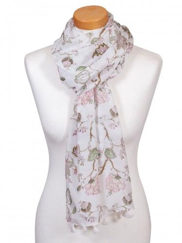 Hammerschmid Schal, luftig, grau-rosa, Blumenmuster, Quasten