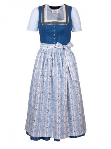 Schloß Orth Adele Leinendirndl, blau-braun, 80lg