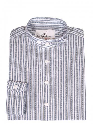 Arzberger Baumwollhemd, marine grün, gestreift, Pfoad, Stehkragen