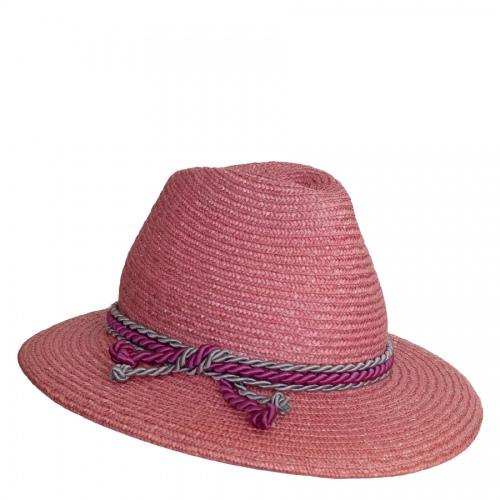 Lembert Strohhut rosa, pinke-graue Kordel