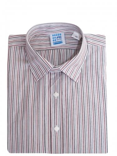 Schweighart Trachtenhemd, Pfoad, rot-schwarz, gestreift, Liegekragen
