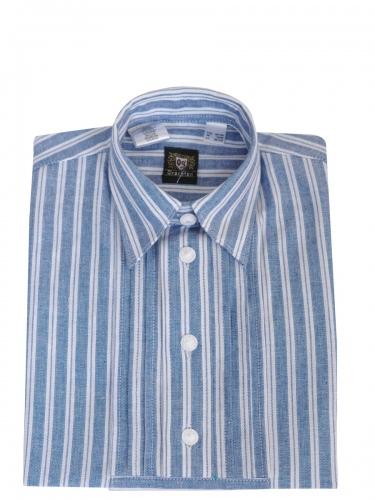 Orbis Kinderhemd blau-weiß gestreift mit Riegel