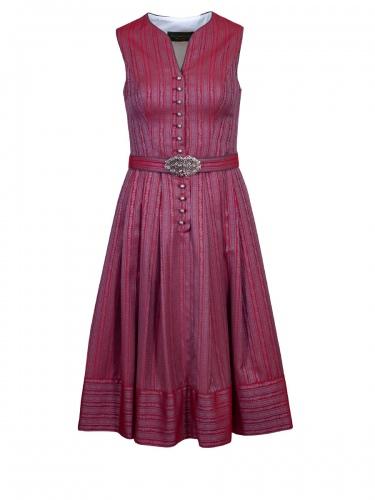 Anno Domini Festkleid Viola, kirschrot, gewebt, Gürtel mit Schließe