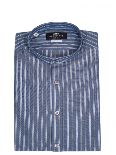 Gloriette Herrenhemd, jeansblau-weiß gestreift, Stehkragen, durchgeknöpft