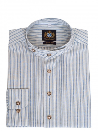 Hammerschmid Trachtenhemd grau-hellblau gestreift, Pfoad, Stehkragen
