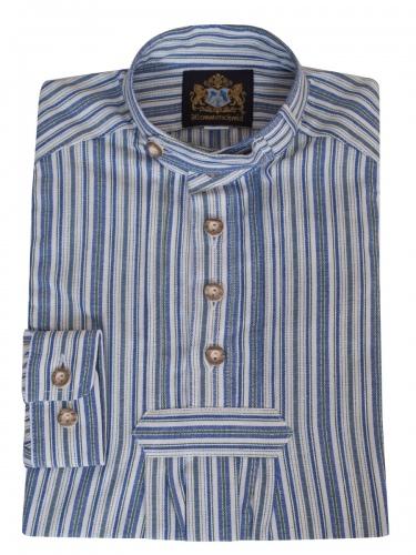 Hammerschmid Kinderhemd grün-blau-weiß gestreift, Pfoad, Stehkragen