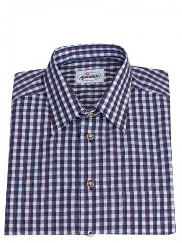 Kümmel Herrenhemd, rot-blau kariert, durchgeknöpft, Brusttasche