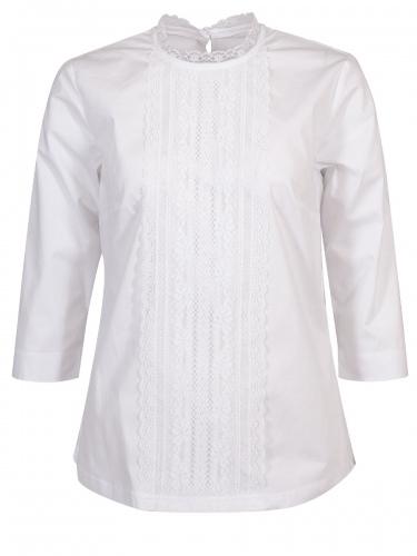 Wenger Jalta 3/4-Arm-Bluse weiß, Spitzenbesatz, Stretch
