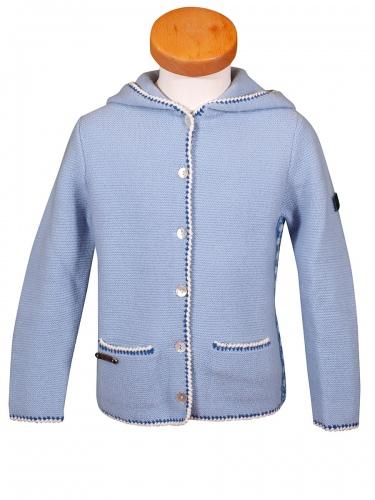 Hammerschmid Kapuzen-Strickjacke Nimes, hellblau, weiße Einfassung