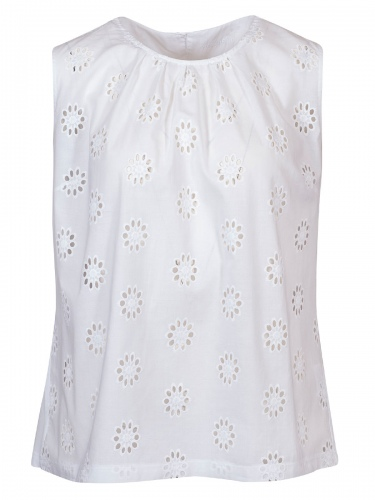 Wallmann Tunika-Top, großes Blumenlochmuster, Shirtrücken