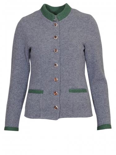 Boos Walkjacke, grau mit grünen Abschlüssen, Hirschhornknöpfen