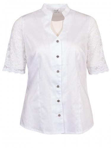 Waldorff Kurzarm-Bluse weiß, elegant, Arme aus Spitze, Stretch