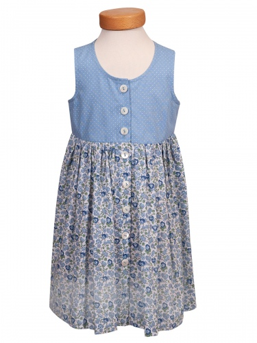 Hammerschmid Hallsee Mädchenkleid, hellblau, Blumenmuster