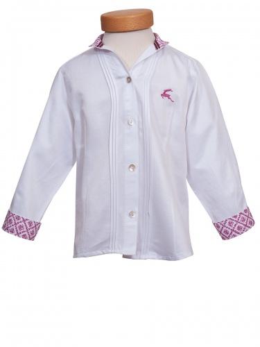 Orbis Mädchenbluse weiß, pinker Hirschstick, pinker Kragen