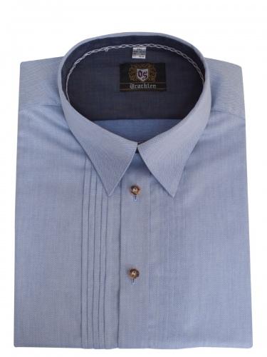 Orbis Herrenhemd jeansblau, leicht gemustert, Liegekragen, durchgeknöpft, Slim Fit