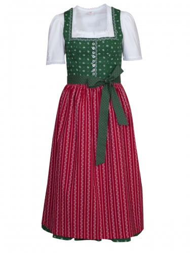 Wenger Harmony Baumwoll-Dirndl, grün-rot, 80cm