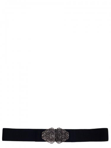 Anno Domini Design Stretchgürtel schwarz, silberfarbene Schließe