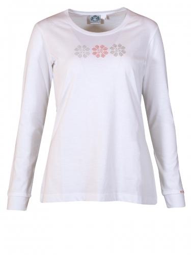 Moser Langarmshirt Fehring, weiß mit drei Blumenornamenten