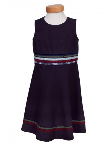 Moser Sissy Mädchenkleid, marineblau, verschiedene Borten
