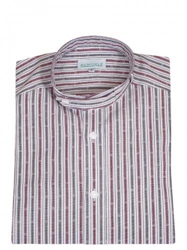 Waldorff Trachtenhemd, Pfoad, rot-grau gestreift, Stehkragen
