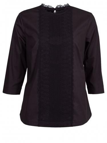 Wenger Jalta 3/4-Arm-Bluse schwarz, Spitzenbesatz, Stretch