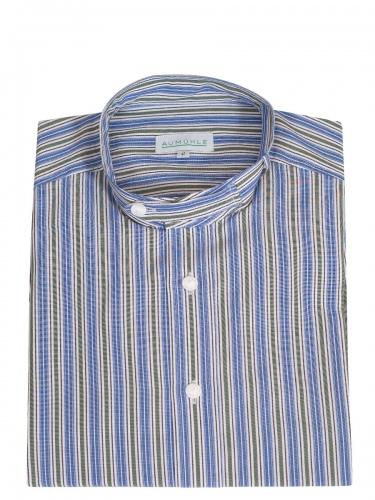Waldorff Trachtenhemd, Pfoad, blau-grün, Stehkragen