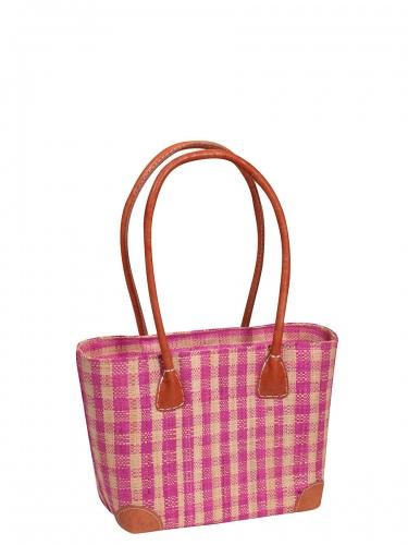 frosch & rabe Korbtasche Vero rosa kariert, kleine Handtasche