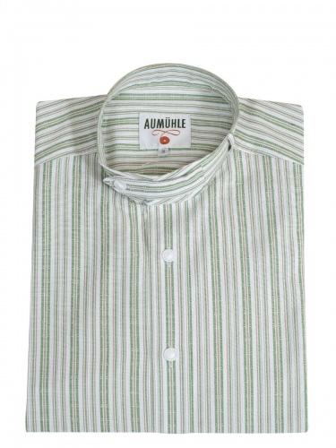 Waldorff Trachtenhemd, Pfoad, grün-beige-weiß gestreift, Stehkragen