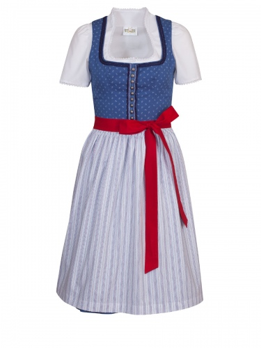 Wenger Polly Dirndl, blau-weiß, 65cm