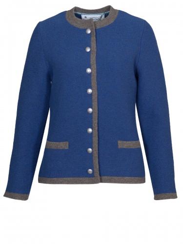 Astrifa Hafling Strickjacke, blau mit brauner Einfassung