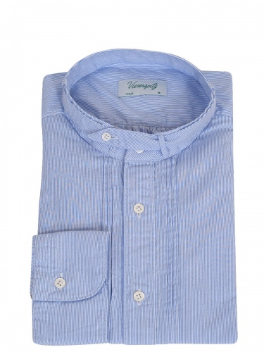 Viererspitz Herrenhemd Christoph, blau gestreift, hochwertig verarbeitet