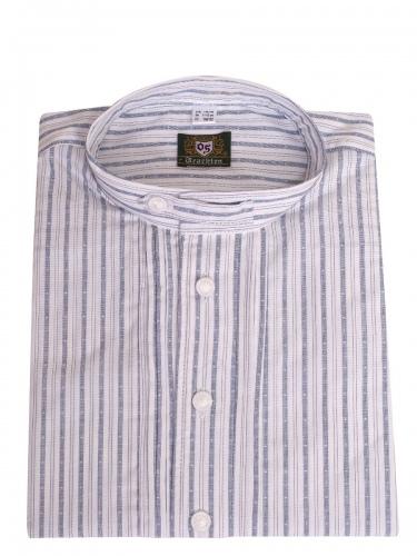Orbis Kinderhemd jeansblau-weiß gestreift mit Riegel