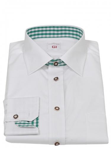 e80ae51e9661 Gloriette Herrenhemd weiß mit grünem Karostoff   Trachtenmode Leismüller