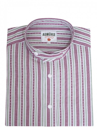 Waldorff Trachtenhemd, weinrot-weiß-grün, gestreift, Stehkragen, Pfoad